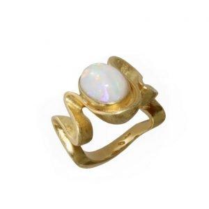 """Anello """"Golden Ribbon"""" con opale"""