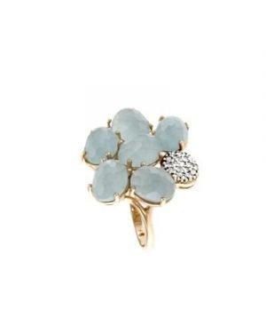 Anello a forma di fiore di acquamarina e brillanti