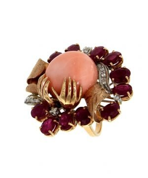 Coral ruby and diamond ring
