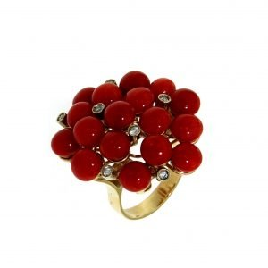 Ring with Sardinian coral and diamonds