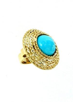 Anello di oro giallo con turchese
