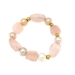 Bracciale di perle coltivate naturali di acqua dolce e quarzo rosa