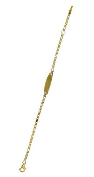 Bracciale in oro giallo targhetta scrivibile