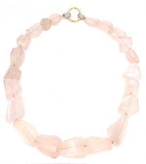 Collana classica in quarzo rosa