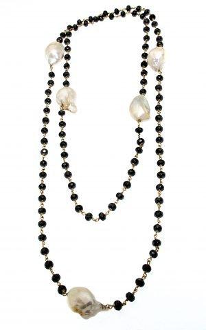 Collana con perle  coltivate e ematite