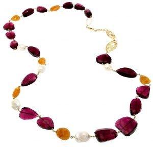 Collana con tormalina perle barocche ed eliodoro