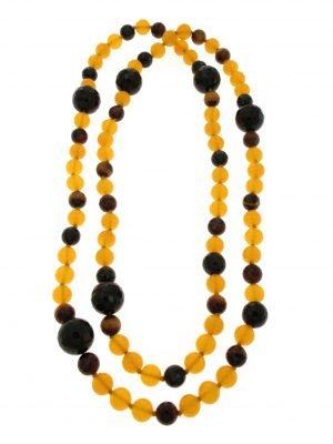 Collana di agata gialla onice nero e occhio di tigre naturali