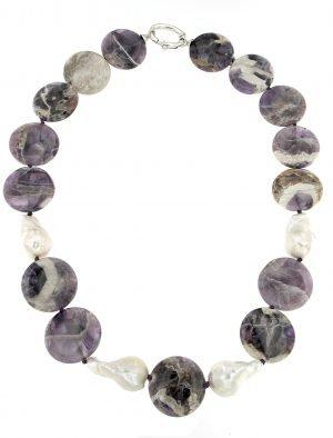 Collana di ametista africana e perle barocche