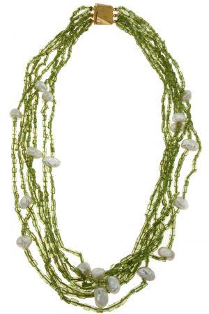 Collana di peridoto multifilo con inserti di perle Keshi coltivate naturali