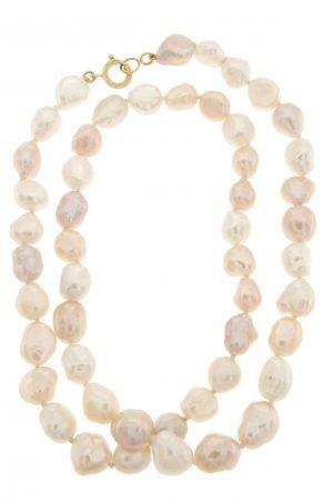 Collana di perle barocche di colore dorato e bianco