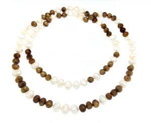Collana di perle bronzo e bianche