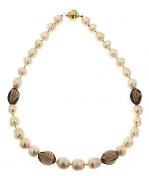 Collana di perle coltivate di lago e quarzo fumé sfaccettato