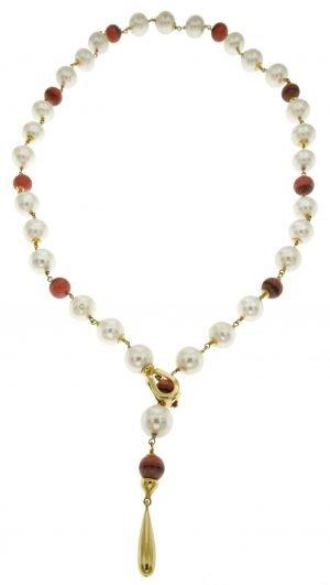 Collana di perle coltivate lago biwa dia 10 mm e rodocrosite