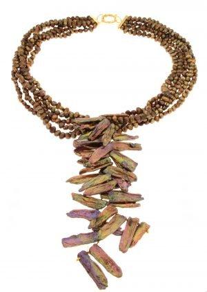 Collana di perle keshi coltivate lago Biwa color bronzo