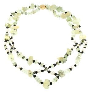 Collana di prehnite perle tormalina