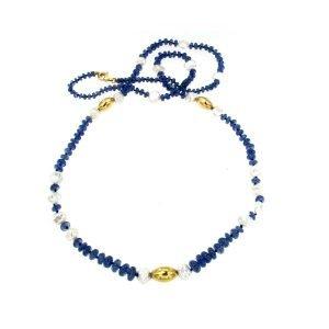 Collana di zaffiri e perle Keshi