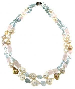 Collana due fili di perle acquamarina e quarzo rosa