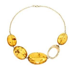 Collana girocollo in oro giallo e ambra