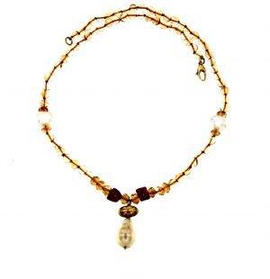 Collana in quarzo citrino con corallo e perle