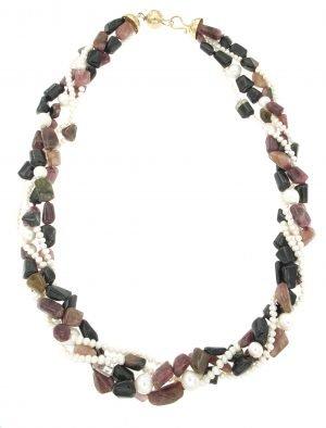Collana multifilo di tormalina e perle