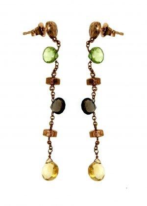Orecchini con catena e gemme semipreziose