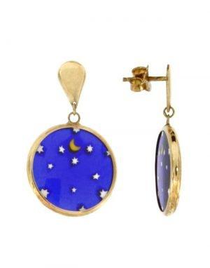 Orecchini pendenti in oro con murrina veneziana