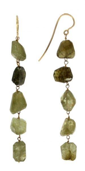 Orecchini pendenti in oro con pietre naturali di grossularia