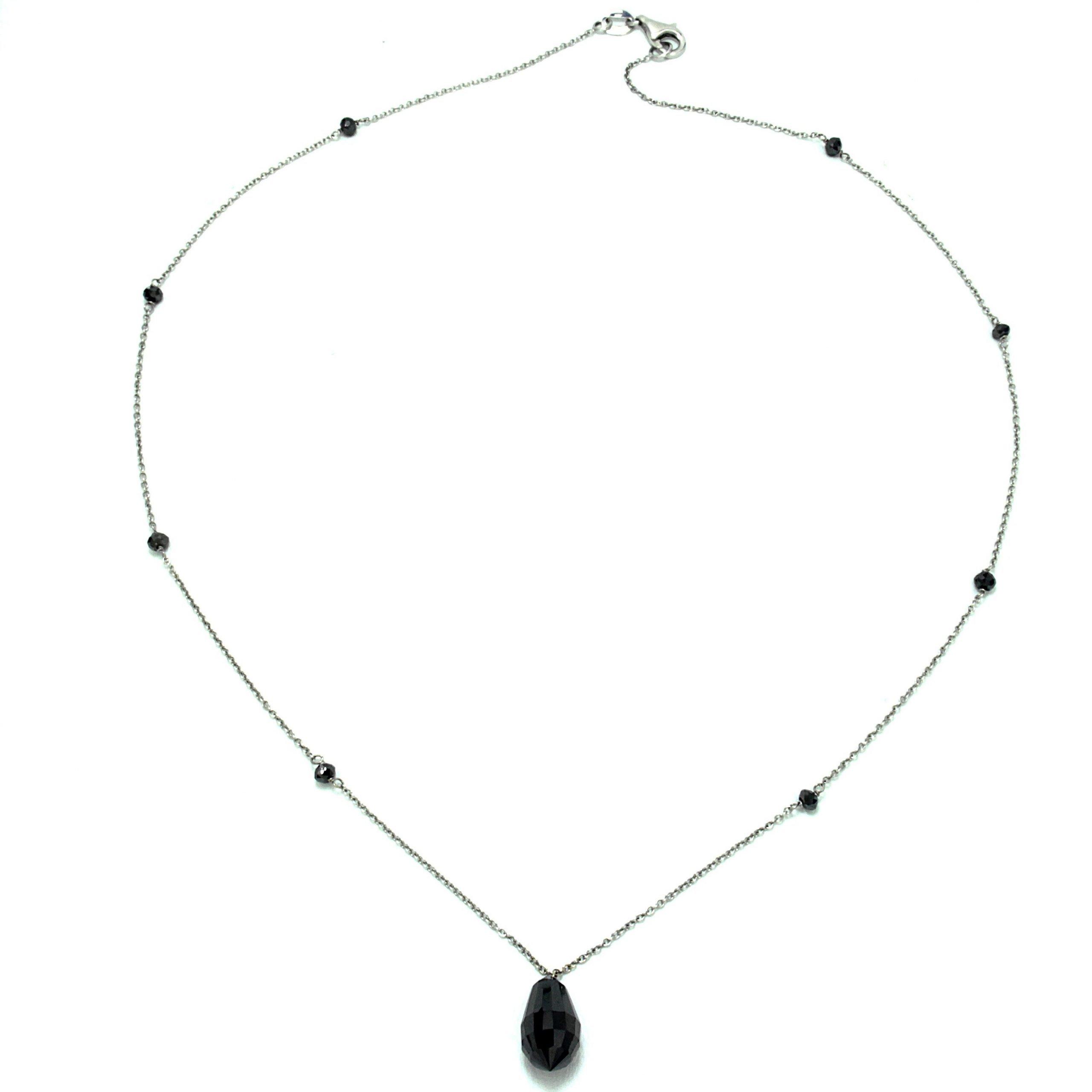 Collier con diamante nero a forma di goccia
