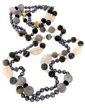 Long pearl necklace and semi-precious stones