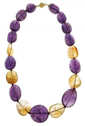 Amethyst and citrine quartz choker necklace