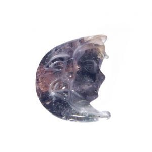 Lodolite engraved in the shape of a moon, with inclusions of byssolite