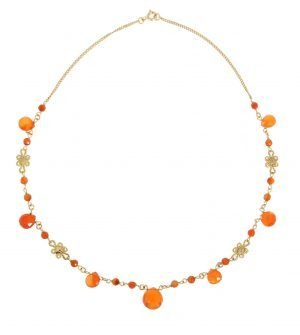 Natural carnelian drops necklace in 18 Kt gold.